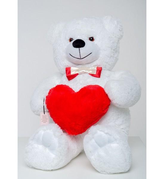 Плюшевый мишка с сердцем Mister Medved Бэрти 110 см Белый