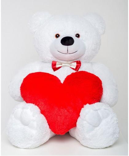 Плюшевый мишка с сердцем Mister Medved Рэнди 130 см Белый