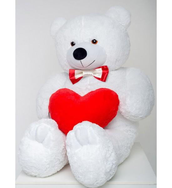 Плюшевый мишка с сердцем Mister Medved Терри 160 см Белый