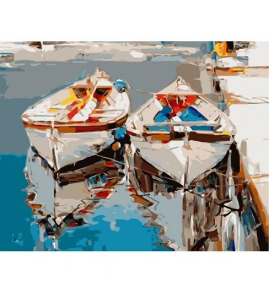Картина по номерам Пара белых лодок ★★★ VA-1001