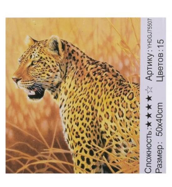 Картина по номерам + Алмазная мозаика Леопард ★★★★ 75507