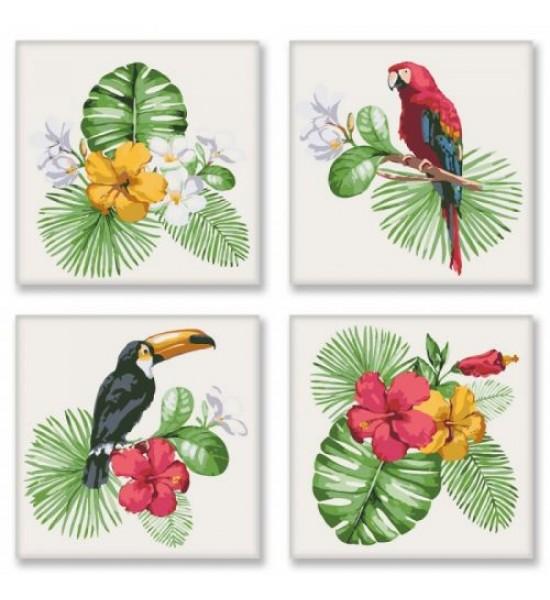 Картина по номерам Полиптих: Тропическое разнообразие ★★★★ KNP007