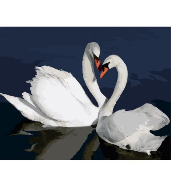 Картина по номерам Лебеди в воде ★★★ VA-2662