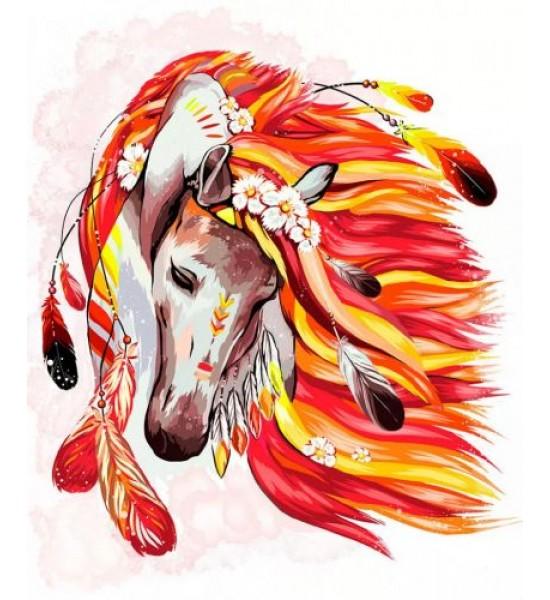 Картина по номерам Огненная лошадь рус KpN-01-07