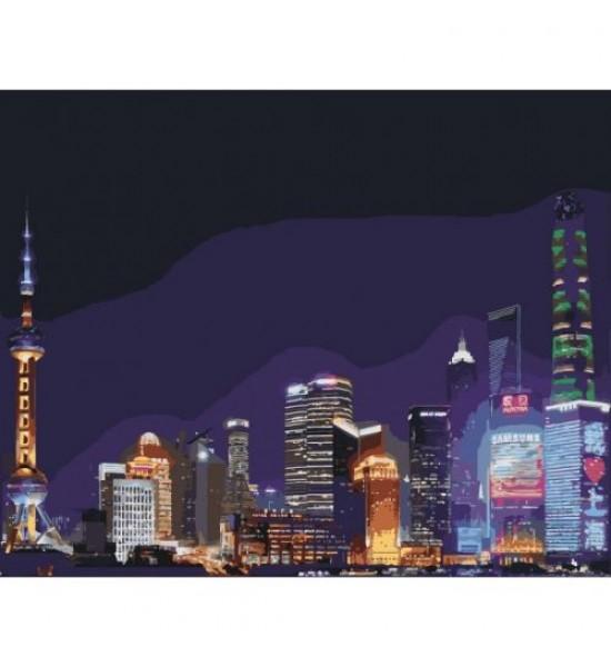 Картина по номерам Ночной Шанхай ★★★★★ КНО3507