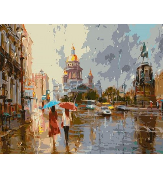 Картина по номерам Прогулка под дождём ★★★★ VA-1508