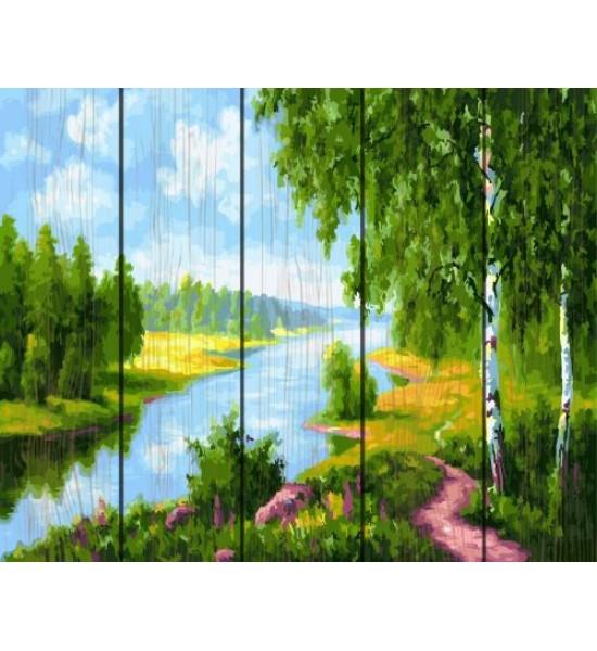 Картина по номерам на дереве Березки у реки GXT22577