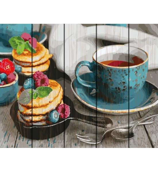 Картина по номерам на дереве Чай с оладушками GXT26494