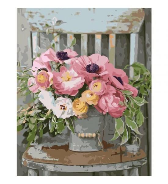 Картина по номерам Букет цветов на стульчике ★★★★ VA-1372