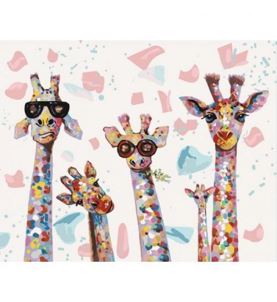 Картина по номерам Веселые жирафы КНО4115