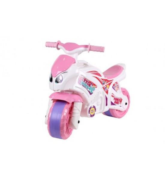 Каталка Мотоцикл Технок бело-розовая 5798
