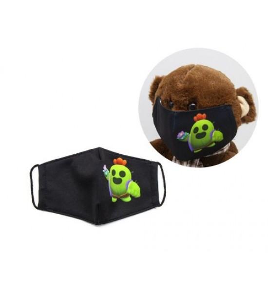 Многоразовая 4-х слойная защитная маска BRAWL STARS Спайк размер 3 7-14 лет mask2NEW