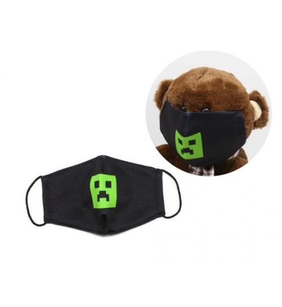Многоразовая 4-х слойная защитная маска Майнкрафт. Криппер размер 3 7-14 лет mask2NEW