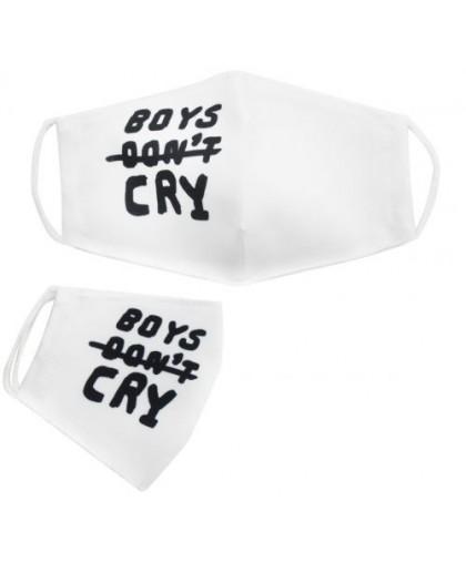 Многоразовая 4-х слойная защитная маска Boys don't cry размер 3 7-14 лет белая mask2NEW