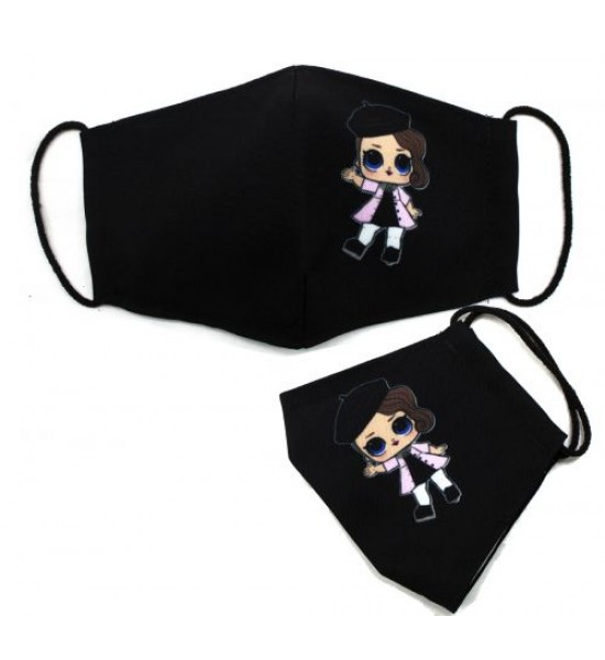 Многоразовая 4-х слойная защитная маска Куколка размер 3 7-14 лет коричневый mask2NEW