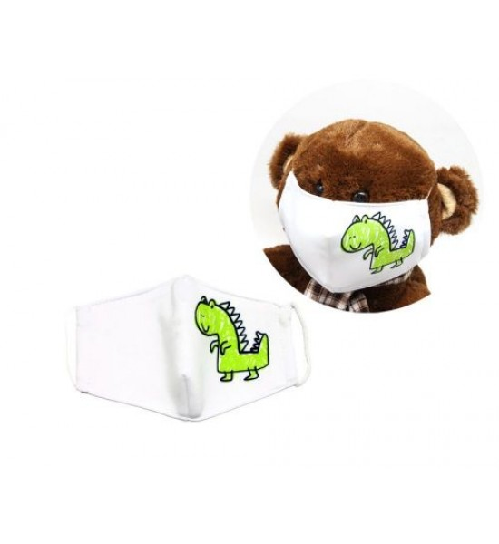 Многоразовая 4-х слойная защитная маска Динозавр размер 3 7-14 лет (зеленый) mask2NEW