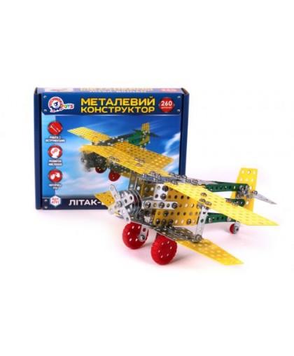 Конструктор металлический Самолет-биплан 4791