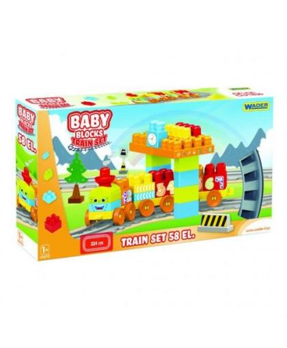 Baby Blocks Мои первые кубики Железная дорога 224м 58 деталей 41470