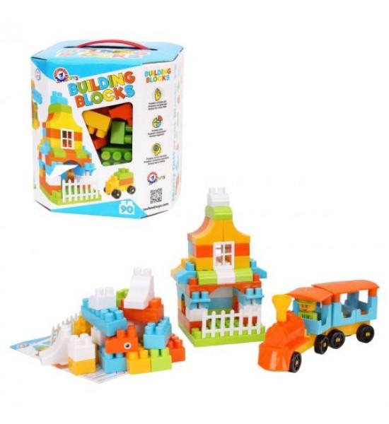 Конструктор Building Blocks 90 деталей голубой 6573